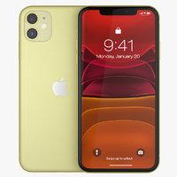 iphone 11 yellow phones 3D model