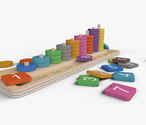 calculation table wooden rings 3D model