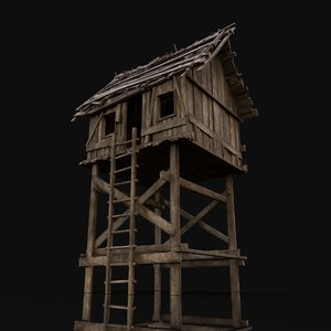 3D model wooden scouttower