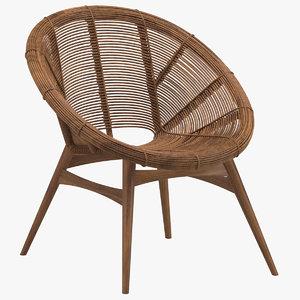 janine abraham lounge bamboo 3D model