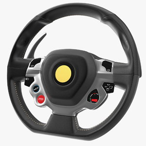 3D model sport car steering wheel