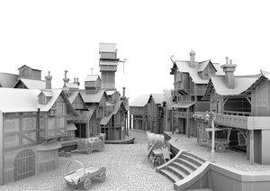 3D model medivial village