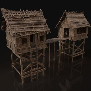 wooden medieval watchtower 3D