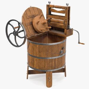 3D open vintage washing machine