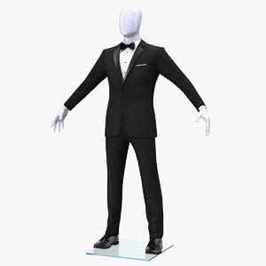 3D black tuxedo suit