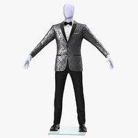 3D grey patterned tuxedo suit