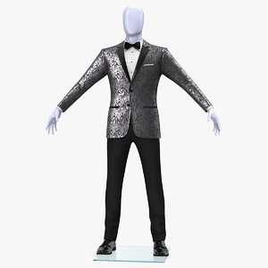 3D grey patterned tuxedo suit
