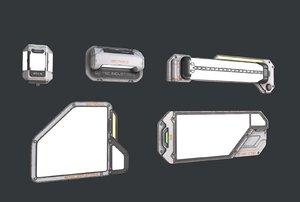 3D scifi lights pack