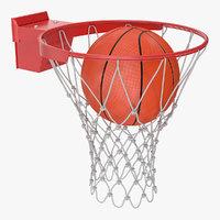 basketball ball falls hoop 3D