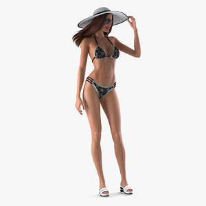 bikini girl standing pose 3D model