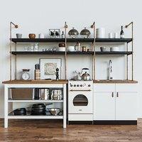 kitchen set loft 3D model