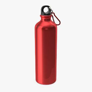 red aluminum water bottle 3D model