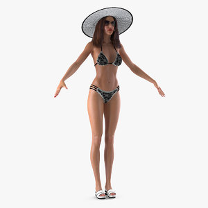 3D woman beach style clothes model