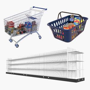 3D supermarket shopping cart
