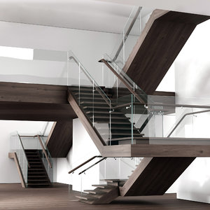3D stairs wooden model