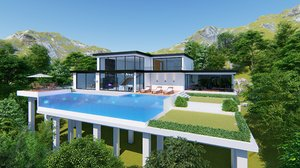 ultra modern villa 3D model