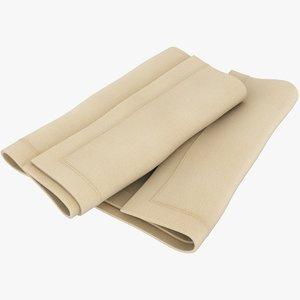 realistic folded napkin 3D model