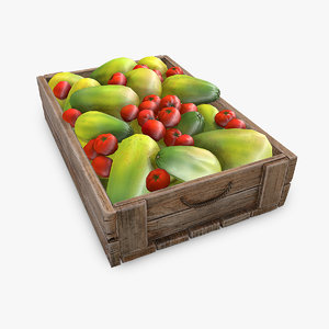 3D market wooden box model
