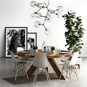 3D chair eames loft set model