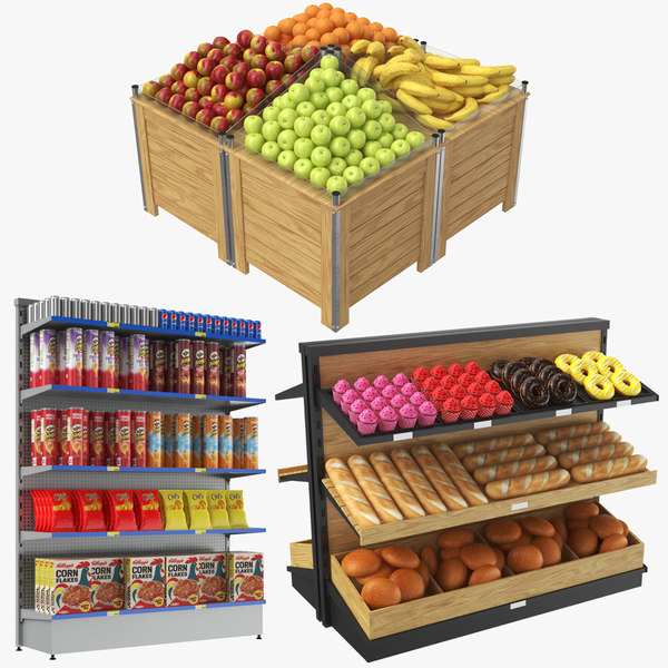 real grocery display 3D model