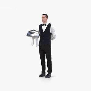 3D waiter person human