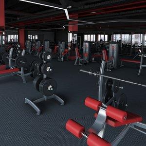 3D big fitness gym model