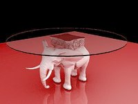 3D elephant coffee table