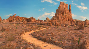 desert environment road 3D