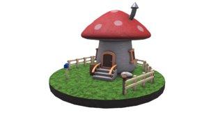 3D stylized mushroom house