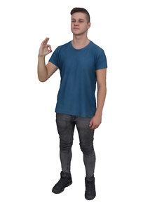 3D scanned people boy blue model