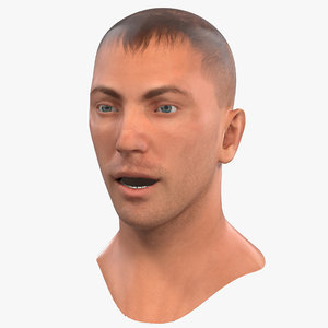 caucasian male head rigged 3D