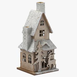 christmas wooden house snow 3D model