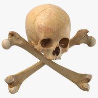 3D model pirate skull bones composition