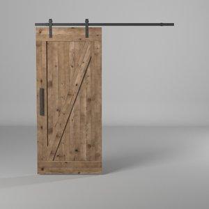 sliding door wood 3D model