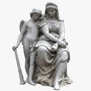 allegorical drama sculpture 3D model