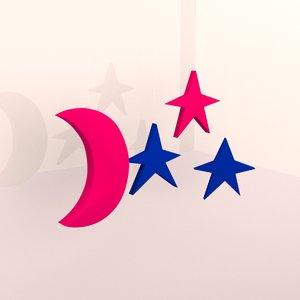 3D starry moon model