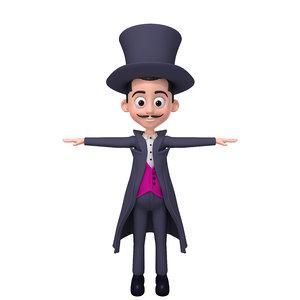 magician cartoon 3D model