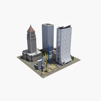 downtown city block 3D