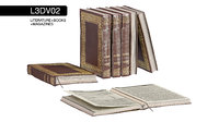 L3DV02G01 - old books collection with opened book set