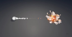 3D cartoon missile explosion vfx
