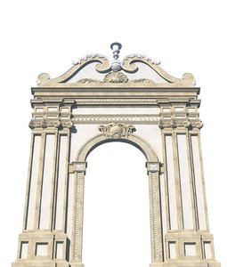 classic gate architectural 3D model