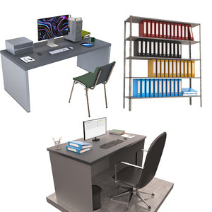 3D model office workstation desk shelf