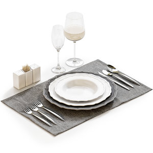 table setting 21 plates 3D model