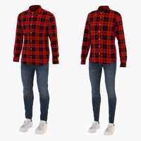 Men and Women Shirt Jeans and Sneakers