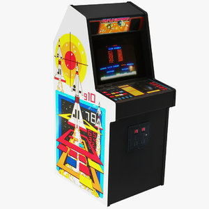 3D misille command arcade machine model