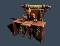 3D wizard throne