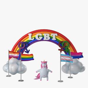flags lgbt-communities unicorn 3D