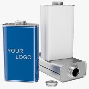 1 litre rectangular tin 3D model