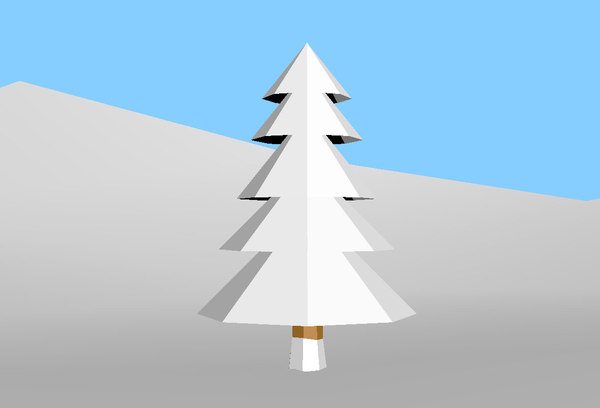 3D snow-covered tree