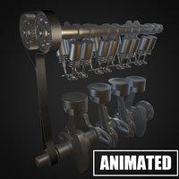 3D crankshaft piston engine model